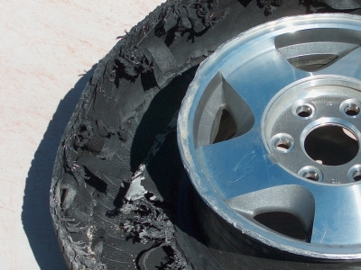 blown out tire