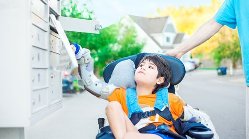 Boy Wheelchair Cerebral Palsy Braces Chores