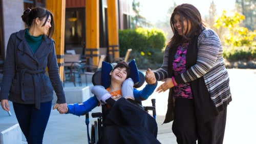 Boy With Cerebral Palsy Wheelchair Caregivers