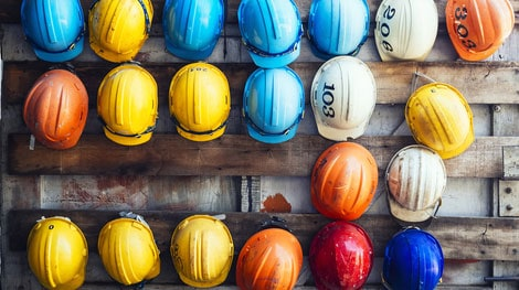Multi Color Hard Hats Used Various Professions