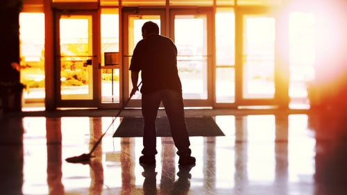 Janitor Mop Cleaning Commercial Flooring